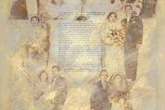Ketubah - Joanne & Todd #1 | Gum Arabic prints, gold wash with needlework on Handmade Paper | 26 x 38