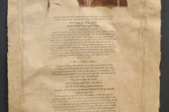 Ketubah - Alan & Nancy #2 Gum Arabic print, needlework & Wash on Handmade Paper | 26 x 38