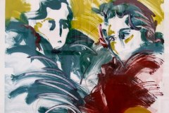 Two Friends #2   Hand-embellished Monotype on Paper   34x22